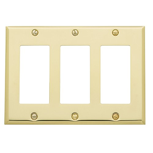 Baldwin Estate 4740.030.CD Square Beveled Edge Triple GFCI Wall Plate in Polished Brass, 4.5