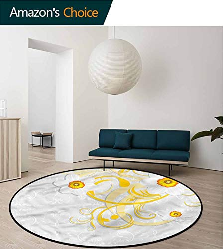 Daffodil Ornament - RUGSMAT Daffodil Round Area Rug Ultra Comfy Thick,Daffodils Ornaments Art Non Slip Rug Diameter-35