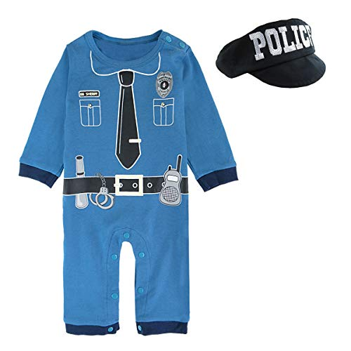 Mombebe Baby Boys' Police Costume Dress up Romper(Police, 9-12 Months)