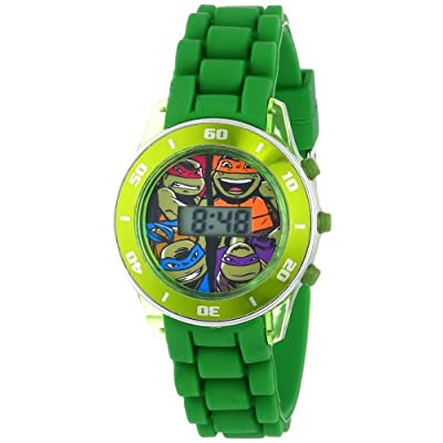 Ninja Turtles Kids' Digital Watch with Matallic Green Bezel, Flashing LED Lights, Green Strap – Kids Digital Watch with…