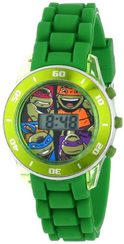 Ninja Turtles Kids' Digital Watch with Matallic Green Bezel, Flashing LED Lights, Green Strap - Kids Digital Watch with Teenage...