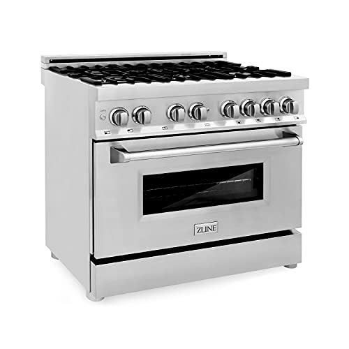 ZLINE 36″ 4.6 cu. ft. Dual Fuel Range with Gas Stove and Electric Oven with Color Door Options (RA36) (Stainless Steel)