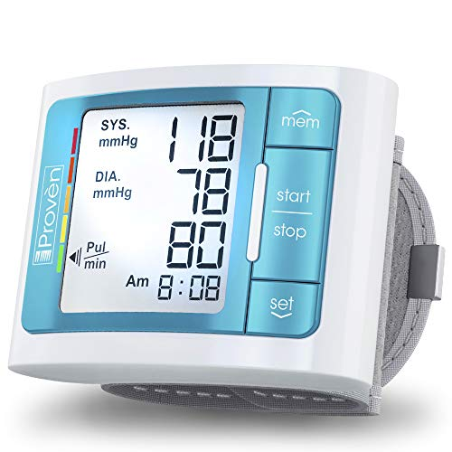 [2019 Model with Backlight] iProven Blood Pressure Cuff Wrist - BP Monitor with Backlight and Large Screen - 60 Reading Memory and Batteries Included - BPM-337BLU (Best Blood Pressure Monitor 2019)