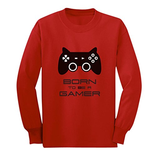 Price comparison product image Born To Be a Gamer Cute Children Future Gamer Funny Long sleeve kids T-Shirt Small Red
