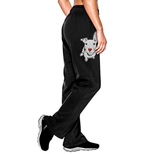 MEGGE Women's Pit Bull Dog Drawstring Athletic Lounge Sweatpants Black M