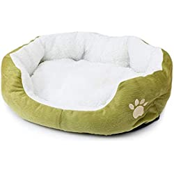 VGRTMISW Pet Mats Dog Bed Cat Bed Soft for Dogs Pad Cushion Dog House Furniture Puppy Blanket Pet Bed Removable Pillow Small Medium Dogs Green 50x40x15cm