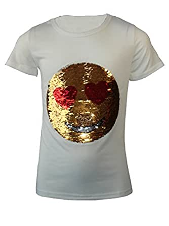 KIDS EMOJI EMOTICONS SMILEY FACE T SHIRT TEE TOP BRUSH CHANGING SEQUIN AGE 3-14