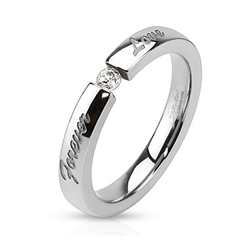 Forever Love' Engraved Stainless Steel Band Ring with 3mm Tension set CZ - Size 10 (Engraved Tension Set Ring)