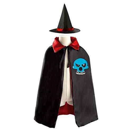 69PF-1 Halloween Cape Matching Witch Hat Blue Skull Skeleton Wizard Cloak Masquerade Cosplay Custume Robe Kids/Boy/Girl Gift -