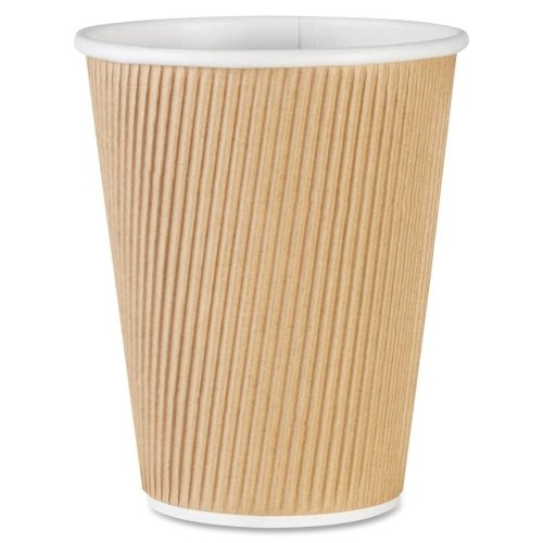 Wholesale CASE of 3 - Genuine Joe Ripple Hot Cups-Rippled Hot Cup, 12oz., 500/CT, Brown