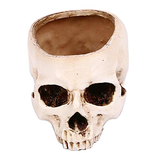 FIged Halloween Hollow Taro Horror Flowerpot Ashtray Resin Simulation Skull Decoration ()