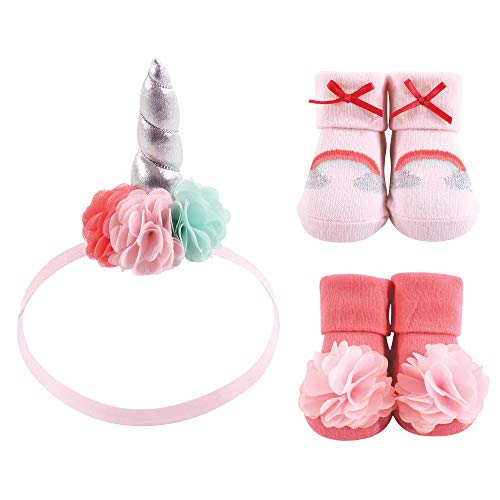 Hudson Baby Baby Headband and Socks Set, 6 Piece, Rainbow 3, 0-9 Months