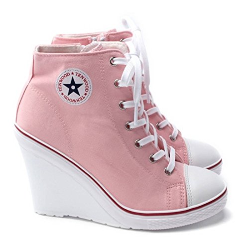Pink Sneakers Women's High High Wedges EpicStep Fashion Top Heels w8Pg77xqn