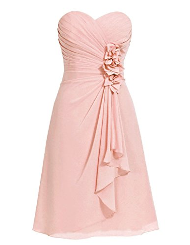 Anlin Women's Ruched Chiffon Short Prom Dress Bridesmaid Gown with Flowers for cheap
