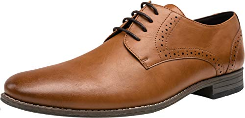 (JOUSEN Men's Oxford Classic Plain Toe Brogue Formal Dress Shoes(11,Brown))