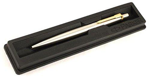 Parker Jotter Stainless Steel Ball Pen GT Gold Trim, Black Ink, Fine Point