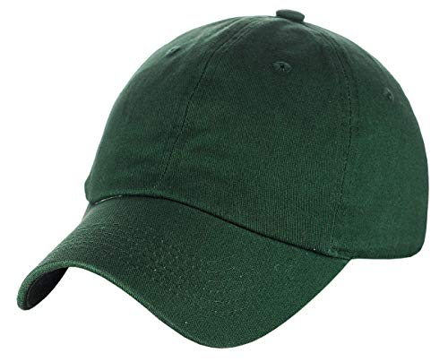Green Low Profile Cap - C.C Unisex Classic Blank Low Profile Cotton Unconstructed Baseball Cap Dad Hat Hunter Green