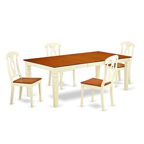 East West Furniture LGKE5-BMK-W 5Piece Kitchen Table Set with One Logan Table & 4 Dining Chairs in Buttermilk & Cherry Finish