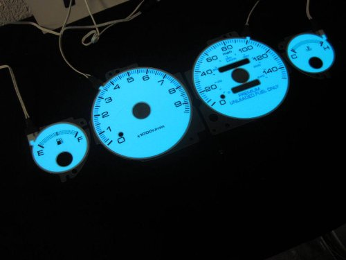 Gauge Apc Only - 1994 1995 1996 1997 1998 1999 2000 2001 Acura Integra GSR GS-R MT Manual Transmission with 9K RPM White Face Glow Through Gauges Cluster Dash Light Kit