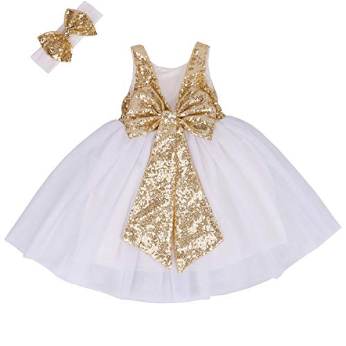 Cilucu Flower Girl Dress Baby Toddlers Sequin Dress Tutu Kids Party Dress Bridesmaid Wedding Gown Birthday Dress Gold/White 4T-5T