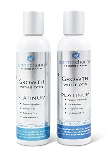 Hair Growth Organic Shampoo & Conditioner Set - With Biotin and Argan Oil - Supports Regrowth & Prevents Hair Loss - For Dry Damaged & Color-Treated Hair - Sulfate & Paraben Free (4 oz) - Made in USA -