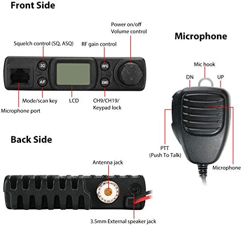 Radioddity CB-27 CB Radio Mobile 40-Channel, AM Instant Emergency Channel 9 19, Work with PA System, RF Gain with Removable Microphone
