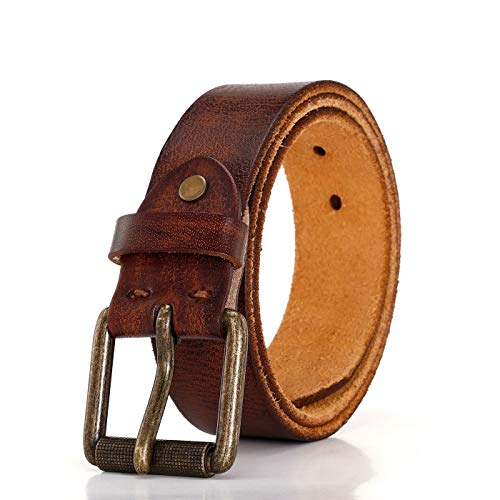 [해외]남성용 100% 풀 그레인 가죽 벨트 클래식 프롱 버클 / Men`s 100% Full Grain Leather Belt With Alloy Classic Single Prong Buckle