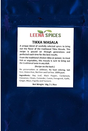 LEENA SPICES – Tikka Masala Seasoning Powder Spice – Gluten Free Mix – No Color Or Salt – Mild Dry Blend - Indian Tandoori Chicken Grill Recipe Included – Enjoy The Delicious Taste. by Leena Spices