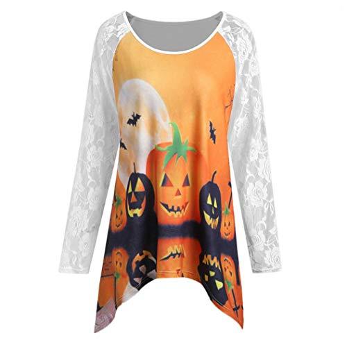 Hot Sale! Halloween Tops for Women - vermers Women Fashion Pumpkin Lace Patchwork Asymmetric Long Sleeve T-Shirt Blouse(M, White) -