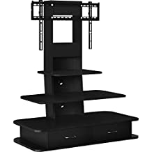 """Altra Furniture Galaxy TV Stand with Mount and Drawers for TVs up to 70"""", Black"""