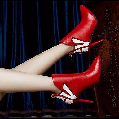 La mujer Confort Botas de cuero cuero Nappa Casual de primavera en Color de pantalla plana de rojo y negro Screen Color