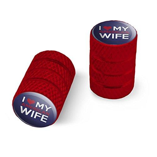 私は私のアメリカの妻を愛していますオートバイ自転車バイクタイヤリムホイールアルミバルブステムキャップ - 赤