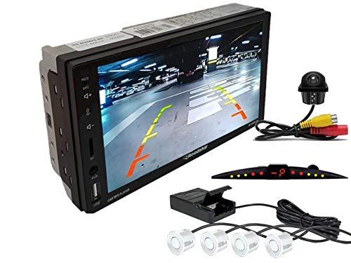 Multimidia Mp5 RS-505MP5 Com Câmera De Ré RS-122BR E Sensor De Estacionamento RS-204BR BRANCO