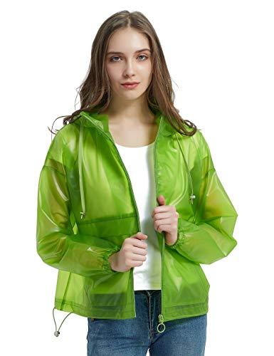 Bellivera Women's Transparent Coats with Hood,The Lightweight Jacket Water Resistant for Spring and Fall