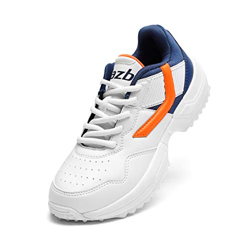 Jazba R1 Junior Turf Shoes for Boys Girls, Outdoor All Rounder Kids Trainer Shoe Best for Cricket Hockey Baseball Softball Training, Wide Fit Extra Cushioning Casual Shoes Orange/Navy