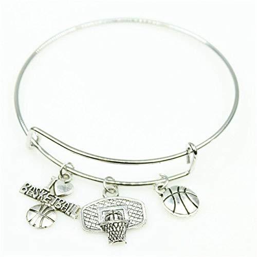 (Adjust Sport Bangles | I Love Basketball Charm Bracelets Jewelry | Expandable Adjustable Wire Hook Bangles & Bracelets (10Pcs))