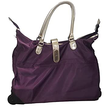 Joy Mangano Travelease Light Wheeled Duffle with Metallic Trim (Luggage, Weekender Bag) - Purple