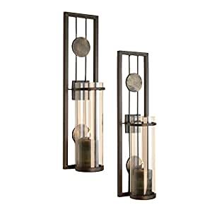 big sale 98c93 26029 Danya B Set of Two Wall Sconces, Metal Wall Décor, Antique-Style Metal  Sconce for Private and Office Use