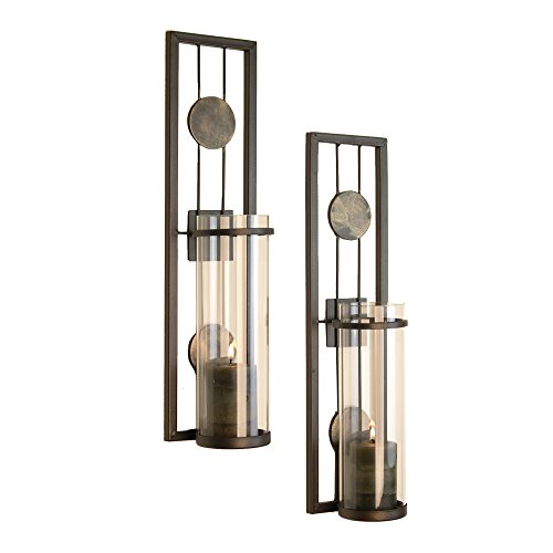 Danya B Set of Two Wall Sconces, Metal Wall Décor, Antique-Style Metal Sconce for Private and Office Use