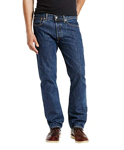 Levi's Men's 501 Original Fit Jean, Dark Stonewash, 34x32 5 Pocket Raw Denim
