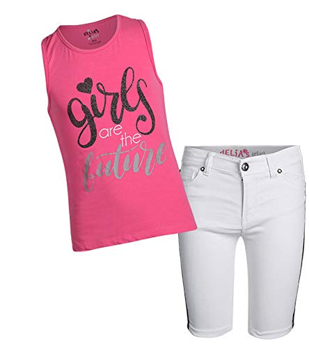 (dELiA*s Girls' 2-Piece Denim Short Set with Prints and Sequins Shirts, Pink Future, Size 5/6')