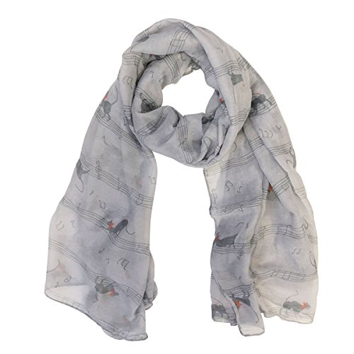 Wrapables Lightweight Cats Musical Notes Long Scarf
