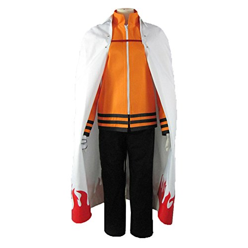 Naruto 7th Hokage Costume (XCOSER Uzumaki 7th Hokage Cosplay Cloak & Outfit Costume for Halloween L)