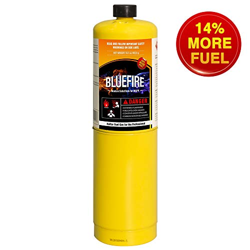 (Pack of 1, BLUEFIRE Modern MAPP Gas Cylinder, 16.1 oz, 14% More Bonus Fuel than MAP/PRO, Hotter than Propane! Variation of Quantity Bundles Available (1))