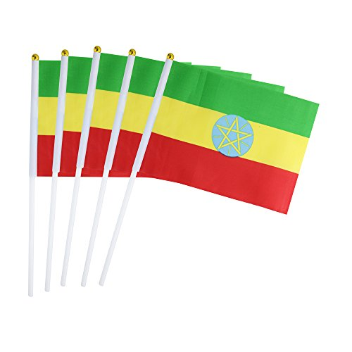 50 Pack Hand Held Small Mini Flag Ethiopia Flag Ethiopian Flag Stick Flag Round Top National Country Flags,Party Decorations Supplies For Parades,World Cup,Sports Events,International - Girl Ethiopia