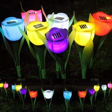 Decorative Lights - Outdoor Yard Garden Lawn Solar Power Led Night Lights Tulip Flower Lamp - Solar Powered Christmas Lights Power Bank Charger String System Home Powerbank Tulip
