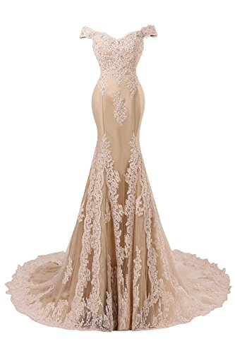 Himoda Women's V Neckline Beaded Evening Gowns Mermaid Lace Prom Dresses Long H074 12 Champagne