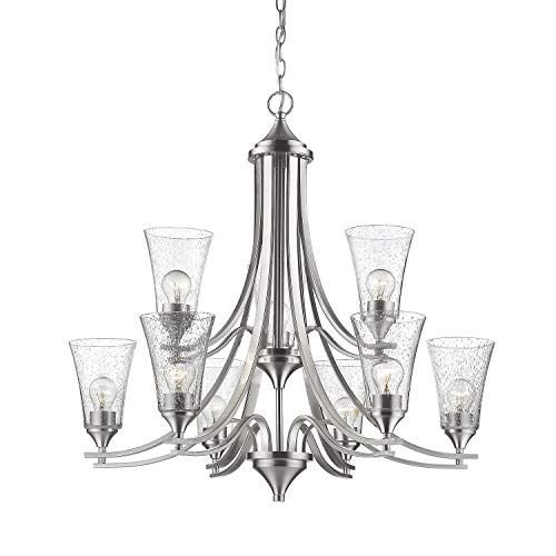 (Millennium 1469-SN Transitional Nine Light Chandelier from Natalie Collection in Pwt, Nckl, B/S, Slvr.Finish, Slvr)