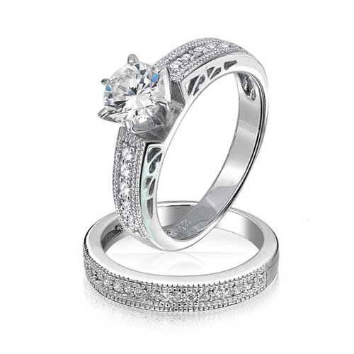 Round Solitaire CZ Pave Band Antique Style Anniversary Wedding Ring Set 925 (Antique Style Wedding Set Ring)