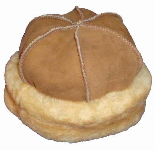 VillageShop Sheepskin Round Hat Medium Stony Tan